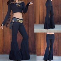 New Womens Vintage High Waist Bell Bottom Long Flare Pants Stretch Boho Hippie