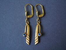 """Vergoldete """"Americ MP"""" Double Ohrringe mit blauen Farbsteinen 1,8 g/3,8 x 0,5cm"""