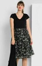Sheego Kleid Gr.50 Damen Abendkleid schwarz Festlich knielang Cocktailkleid grau