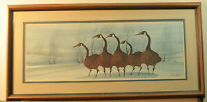 """P Buckley Moss """"Twilight Geese"""" Framed Limited Edition Print Issued 1986 Rare"""