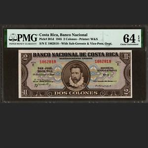 Banco Nacional Costa Rica 2 Colones February 28 1945 PMG 64 EPQ UNC P-201d