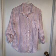 VICTORIA'S SECRET 2-Piece Sleepwear Set - Pink White Silver Striped - Size L