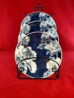 "Beautiful 222 Fifth ""Alexandra"" Floral Blue Porcelain Dessert Plate"