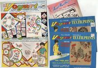 Lot of 5 - Vintage Hand Embroidery Transfer Pattern Roosters - Original Uncut