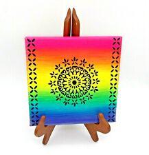 Original Artwork Acrylic Mandala Painting 8x8 Canvas Abstract Chakra Art Rainbow