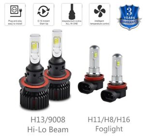 For Pontiac Torrent 2006 2007 2008 2009 4x H13 H11 LED Headlight Fog Light Bulbs