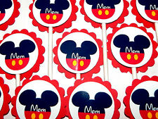 "30 MICKEY MOUSE ""M0M"" Cupcake Toppers Birthday Party Favors, Baby Shower 30"