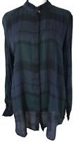 NWT ANN TAYLOR LOFT Navy Green Plaid Long Sleeve Blouse Top Women's Size L