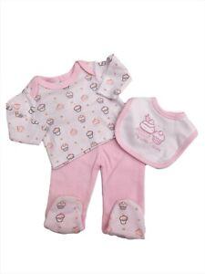 BNWT Tiny Premature Preemie Baby girls 100% cotton 3 piece set  3-5 lb 5-8lb