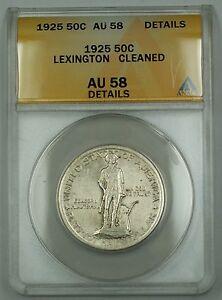 1925 Lexington Commemorative Silver Half Dollar Coin ANACS AU-58 Details Cleaned