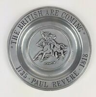 """Vintage Wilton Paul Revere Pewter Plate The British Are Coming Ashtray Tray 6"""""""