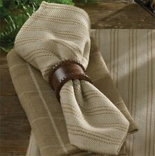 Primtive Country Cobblestone Napkin Dark Sand Tan Striped Cotton Farmhouse