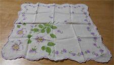 Vintage White Cotton Hankie w Purple Flowers 18
