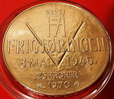 More details for norway 25 kroner 1970 - ww2 35th commemorative 87.5% silver coin in capsule