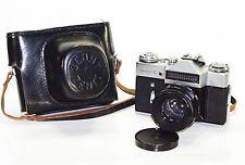 ZENIT E Russian SLR camera 1966 USSR w/lens HELIOS 44 M39 case Good Cond