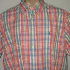 Polo Ralph Lauren 2XL Orange Pink Plaid Casual Button Shirt 80s 90s MINT