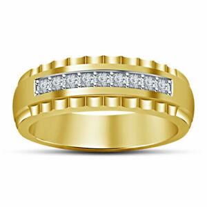 Men's 1.00 Ct Round Cut D/VVS1 Diamond 10k Yellow Gold Fn Wedding Band Ring