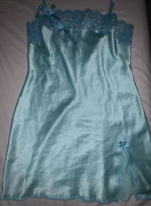 vintage victoria secret slip dress blue green lace bow y2k
