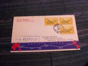 PHILIPPINES 1937 FFC TO HAWAII W/SCOTT# C49, BLK OF 3