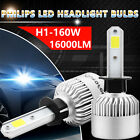 160W 16000LM PHILIPS LED H1 Headlight Kit Low Beam Bulbs 6000K White High Power