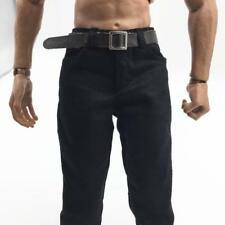 """1/6 Scale Black Pants with Belt Clothing for 12"""" Male Figure Character Model"""
