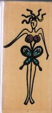stylized butterfly that's all she stamped Wood Mounted Rubber Stamp 2 1/2x 1 1""