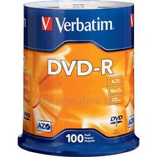 Verbatim DVD-R 100 Pack Spindle 16x 4.7GB Blank DVDs Media Disks