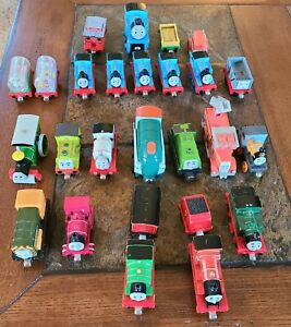 Thomas The Tank Engine Train Lot Diecast Metal & Wood Magnetic Lot Of 25 pieces