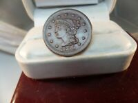 1850 BRAIDED HAIR LARGE CENT AU DETAILS # C 1434