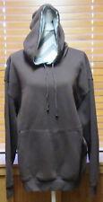 Pullover Fleece Sweatshirt Hoodie Dark Brown Long Sleeved Men LARGE NEVER WORN
