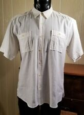 REYN SPOONER Black Label Cotton Linen Casual Ivory Island Button Front Shirt M