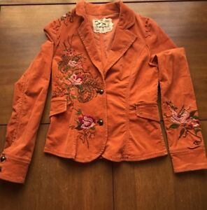 Sugar Lips Anthropologie Woman's Blazer Size S Embroidered Beads Floral Corduroy