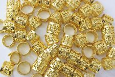 120PC Hair Dreadlocks Bead Cuff Clip.Decoration Filigree Tube Gold Color 10 MM