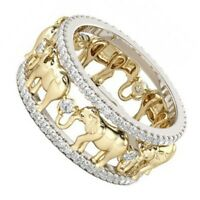 3D Elephant18k Gold Filled Lucky  Wedding Ring Zircon Copper Wide Band Size 6-10
