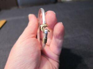 Sterling Silver & 14K gold St. Croix hook bracelet dolphin clasp signed I.I. Ltd