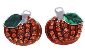 Halloween Orange Crystal Pumpkin Post Stud Earrings Women Fashion Jewelry e2048s