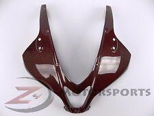 2007-2012 CBR600rr Upper Front Nose Headlight Fairing Cowl Carbon Fiber Red