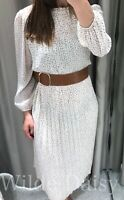 ZARA NEW MIDI POLKA DOT DRESS BELT CREAM BROWN PLEATED RUFFLES LONG SIZE XS-XL