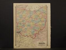 Ohio State Map, 1874 Hand Colored, Counties, Railroads L2#48