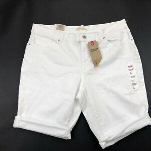 Levis Bermuda Jean Shorts Womens Embroidered White Stretch Denim W34 NEW