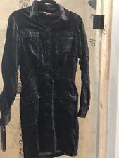 Betsey Johnson VINTAGE Dress STRETCH VELVET Black Gray SNAKE Dress M