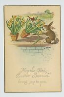 VINTAGE EASTER POSTCARD - NAUGHTY BUNNY RABBITS EATING FLOWERS!
