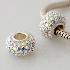 CRYSTAL AB Pave Genuine 925 Sterling Silver Charm Bead Fits Bracelet