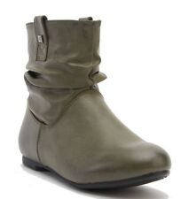 WOMENS LADIES CASUAL LOW HEEL WINTER  ANKLE BOOTS SIZE GREEN