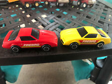Pair of Vintage 1982 Buddy L Firebird Cars, Red and Yellow, Plastic