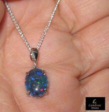 2.6 ct Natural Black Australian Opal SIlver Pendant & Necklace