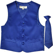 New Boy's Kid's formal Tuxedo Vest Waistcoat & Necktie Royal blue US sizes 2-14
