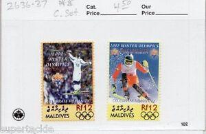 2002 Maldives Sc# 2636-37 ** MNH Winter olympics, skiing, postage stamp set