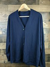The Row Wool Cashmere Blend Navy Blue Cardigan Sweater Sz S 916