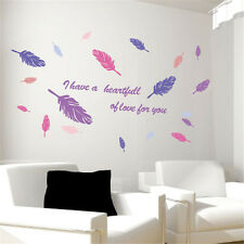 Colorful Feathers Room Home Decor Removable Wall Stickers Decals Decorations